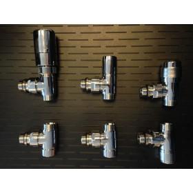 Prolix kraansets, aansluitsets, radiatorkraan in chroom.